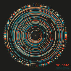 Wall Mural - Vector abstract colorful round big data information visualization. Social network, financial analysis of complex databases. Visual information complexity clarification. Intricate data graphic
