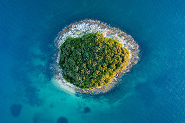 Poster de jardin Ile Island on the Adriatic Sea birds eye view.