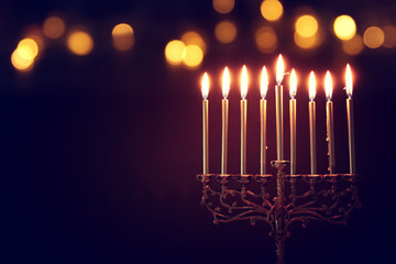Religion image of jewish holiday Hanukkah background with menorah (traditional candelabra) and candles Fotomurales