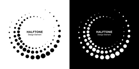 Wall Mural - Halftone circular dotted frames set. Circle dots isolated on the white background. Logo design element for medical, treatment, cosmetic. Round border using halftone circle dots texture. Vector bw.