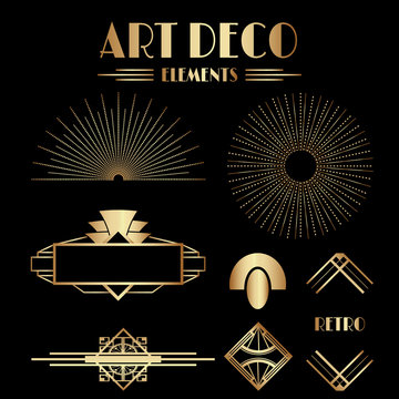 Geometric Art Deco Ornaments and Decorative Elements