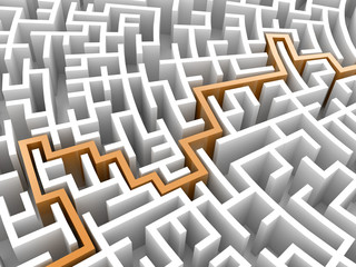 Infinite maze, choices and challenge theme; original 3d rendering illustration
