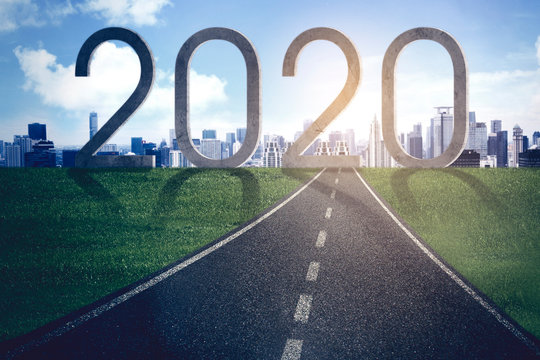 Roadway toward numbers 2020 and modern city
