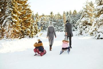 Happy family sledding in the park in winter.