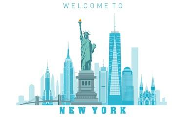 New York City skyline in white background. Vector illustration Fototapete
