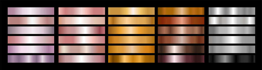 Metal Gradient Collection of Rose Gold, Golden, Bronze and Silver Swatches