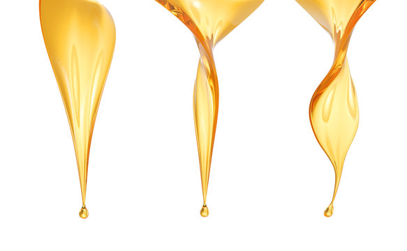 Golden Fuel oil or Olive oil drop isolated on white background, 3d rendering.