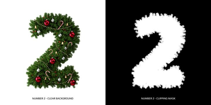 Christmas number 2. Christmas typography.
