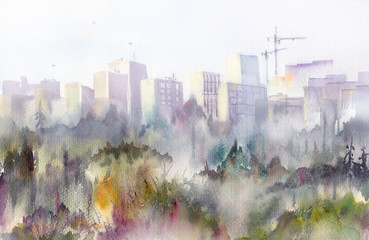 Urban panorama. Morning fog among high buildings at residential district. Background image with modern city scene in fog - watercolor illustration. Provincial city, autumn park, cranes in cloudy haze