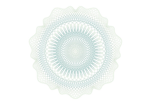Guilloche elements pattern for graduation, business, award, coupon, banknote and banner. Rosette linear watermark  for different certificate.