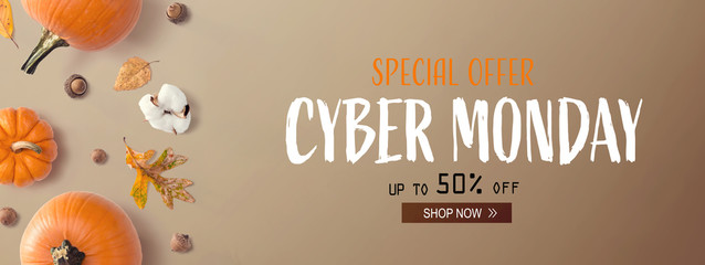 Wall Mural - Cyber Monday banner with autumn pumpkins with leaves