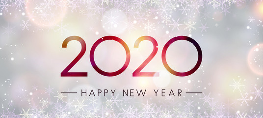 Blurred shiny Happy New Year 2020 banner with snowflakes. Fototapete