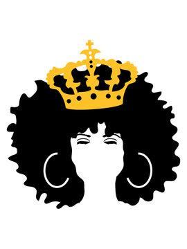 krone queen königin prinzessin geschlossene augen schwarze frau afro frisur weiblich hübsch schön dunkelhäutig stolz farbig clipart design comic cartoon cool sexy girl