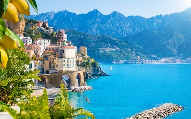 Foto op Canvas Blauw Small town Atrani on Amalfi Coast in province of Salerno, Campania region, Italy. Amalfi coast is popular travel and holyday destination in Italy.