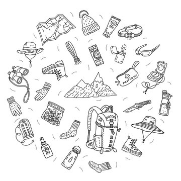 Complex vector illustration of hiking touristic equipment. Backpack, map, binocular, compass, lighter, knife, sunglasses, sunscreen, medical kit, hat, snacks, water etc. Doodle style, circle shape.