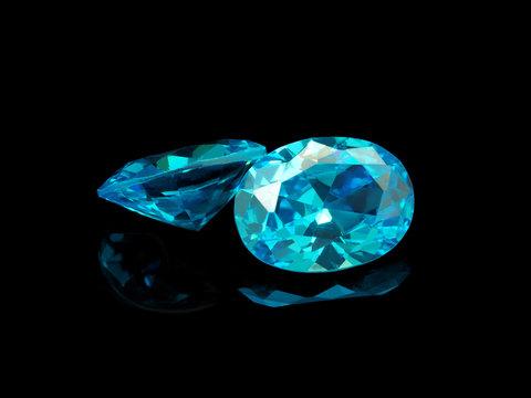 Blue Gemstone on a Black Background