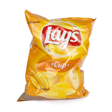 ULAN-UDE, RUSSIA - September 23, 2019: A bag of Lays Classic potato chips on an isolated background.
