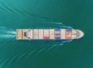 Aerial top view container cargo ship for business logistics, import export, shipping or transportation.