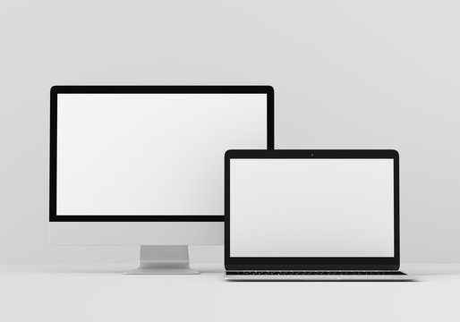 Digital device mock up screen design.
