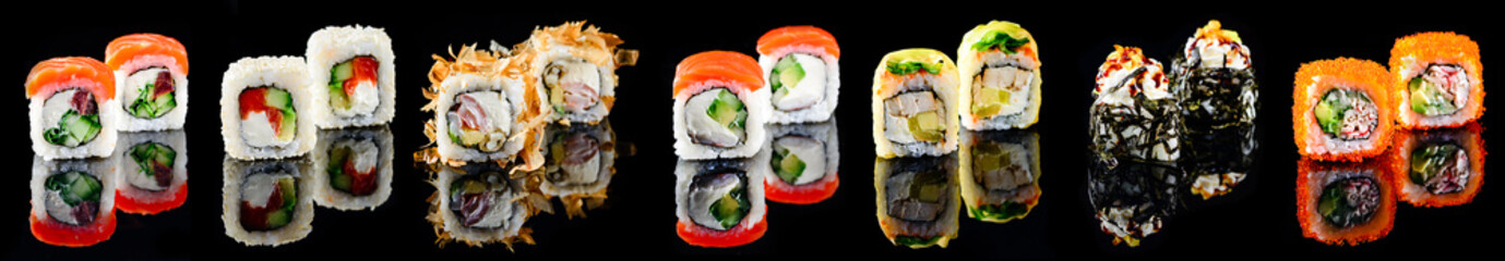Photo sur Aluminium Sushi bar Different kinds of sushi roll Japanese cuisiune