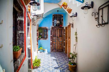 Zelfklevend Fotobehang Santorini Streets of Santorini island. Architectural details. Greece