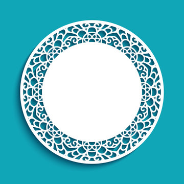 Round lace doily under cake with cutout border ornament, template for laser cutting, lacy napkin, elegant decoration for wedding invitation card with place for text