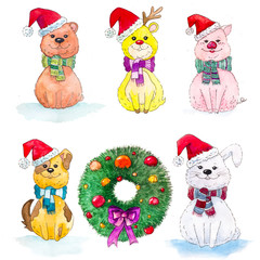 Wall Murals Bears Set of animals in a Christmas hat. Bear, hare, deer, dog, pig in Santa Claus hat.
