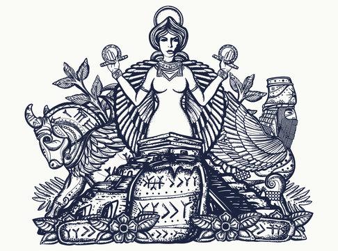 Ancient Sumerian Civilization. Tattoo and t-shirt design. Mesopotamian goddess. Ishtar and ziggurat. Cuneiform writing. Assyrian culture. Gilgamesh legends. Middle East history