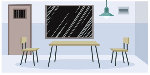 Interrogation room at the police station, an empty crime interrogation room with a table and two chairs and a glass window, a door, a place for interrogation of detainees. Vector illustration