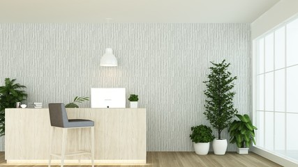 Wall Mural - Reception counter interior 3D rendering in hotel - minimal style