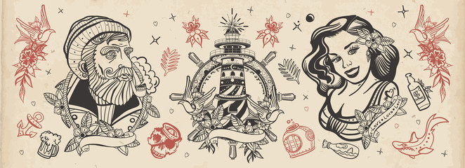 Sea adventure vintage collection. Old school tattoo. Sea wolf captain, sailor girl, lighthouse, anchor, shark and steering wheel. Traditional tattooing style. Marine elements