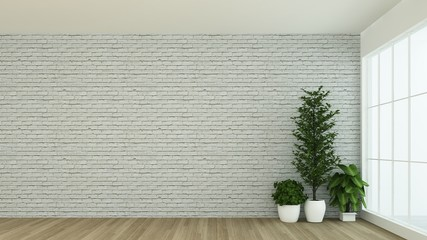 Wall Mural - The interior empty wall background in condominium - 3D Rendering