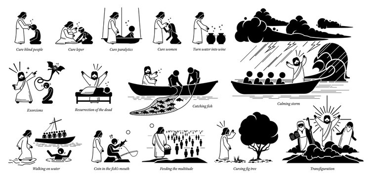 Miracles of Jesus Christ icons pictogram. Stick figure of Jesus Christ curing blind, woman, turning water to wine, exorcism, resurrection, catch fish, walking on water, feeding, and transfiguration.