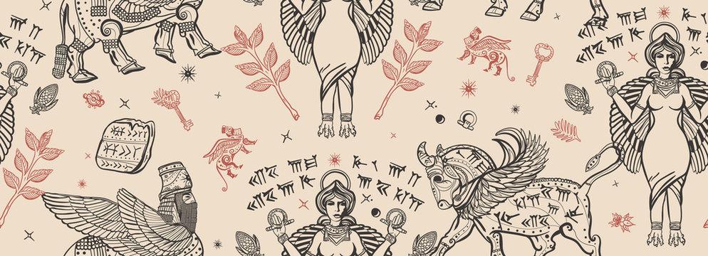 Ancient Sumerian Civilization. Vintage seamless pattern. Old school tattoo style. Assyrian culture. Gilgamesh legends. Middle East history background. Mesopotamian goddess. Cuneiform writing, ziggurat