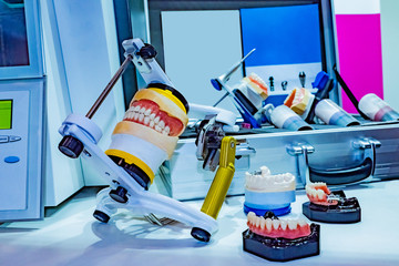 Workplace dental technician. Production of models of jaws for further prosthetics. Prosthetic dentistry. Models of prostheses. Quality control of prostheses. Orthodontics. Correction of bite.