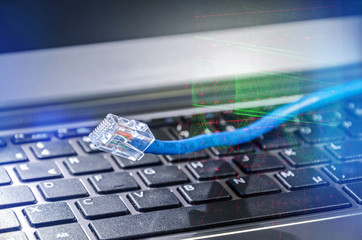 Internet cable connecting to global cyberspace