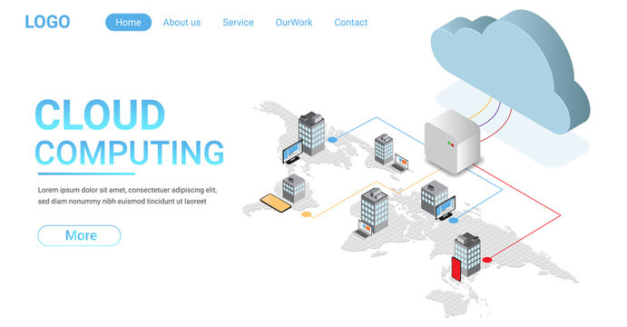 Landing pang of Cloud computing concept. some Elements of this image furnished by NASA