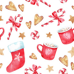 Christmas decor, gingerbread cookies,  red christmas sock, candy, cup with marshmallow mug with silver bells. Seamless pattern. Watercolor set isolated on white background.