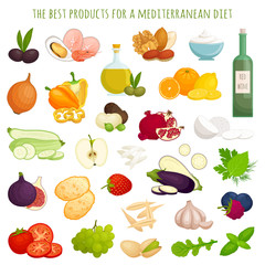 A set of products for the Mediterranean diet. A popular system of healthy eating. Ingredients and products in cartoon style. Vector illustration isolated on a white background.