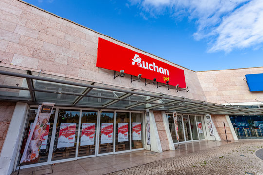 Almada, Portugal - October 24, 2019: Auchan Pet shop or store in the Almada Forum shopping mall or center. Auchan is a French hypermarket, supermarket or superstore chain