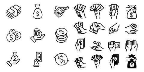 Simple Set of Hand holding money Vector Icons