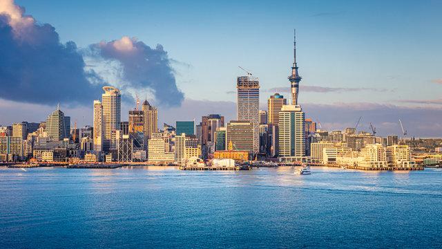 Auckland skyline at sunrise, Auckland, New Zealand