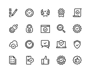 Quality control line icons. Check mark and approve certificate outline symbols, confirmation and quality guaranteed vector sign set. Technological line check and certificate of conformity stamp