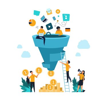 Funnel leads generation. Attracting followers strategy concept with cartoon people and inbound marketing. Vector conversion rate generation flow customer and focus profit