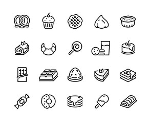 Desserts line icons. Sweet food cakes waffles biscuits donuts and bakery, croissant chocolate pie and cookies. Vector sweet set with cake candies biscuits muffin chocolate for icon celebration