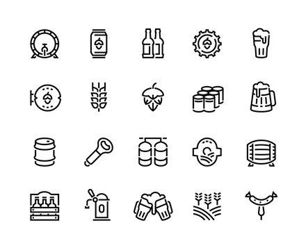 Beer line icons. Glass bottles pack kegs wooden mug and barrel, alcoholic beverages and barley hop drinks. Vector infographic outline bar beer icon set for signboard pub illustration