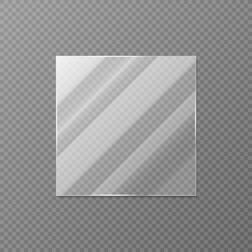 Realistic square glass. Blank mirror or window object with light effects, decorative interior element. Vector illustration glass square banner with shadow reflection and glossy texture