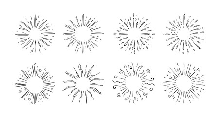 Doodle starburst. Hand drawn decorative elements of shining stars for invitation cards and posters. Vector illustrations abstract pop symbols decoration shine simple element set
