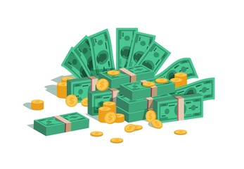 Money pile. Bundle with flying dollars and rolling golden coins, stack of green banknotes and coins on white background. Vector isolated image business finance earn cash concept
