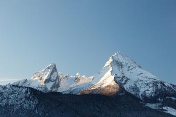 Peak of Mountain Watzmann an sunrise in winter, Berchtesgaden Bavaria